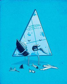 Bermuda Triangle - Illustrations by Nacho Diaz Cute Puns, Funny Puns, Funny Art, Hilarious, Illustration Mignonne, Funny Illustration, Funny Doodles, Bermuda Triangle, Funny Drawings