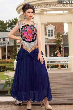 Blue #net #readymade #sleeveless #gown crafted with stone, zari and resham embroidery work on yoke.Price USD 69.