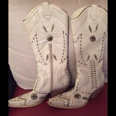 Cowboy boots BCBG cowboy boots worn once .  Close to ivory color.  perfect condition . lots of detail so pretty BCBG Shoes Heeled Boots