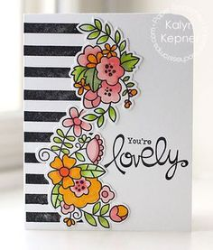 Fashion-Inspired Striped Floral Card