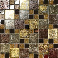 Sample Golden Brown Metallic Foil Metal Glass Mosaic Tile Kitchen Backsplash Spa #Unbranded