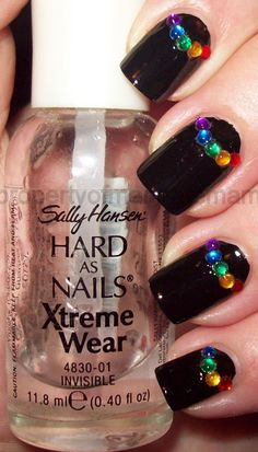 Colored Rhinestone Half-moons - Simple Nail Art Designs If you like this look, you can get it by painting your nails black and then adding different colors of rhinestones near the cuticle areas as shown in the picture and apply fast drying top coat. Simple Nail Art Designs, Best Nail Art Designs, Fall Nail Designs, Easy Nail Art, Cool Nail Art, Pedicure Designs, Nail Art Rhinestones, Rhinestone Nails, Get Nails