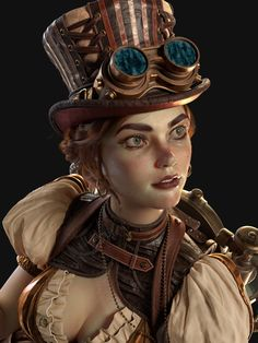 """This is my recent original CG work named """" Extravaganza"""", I try to create an fantasy sense about Tesla with the SteamPunk style . As to the model, it is nearly completed in Zbrush, after use the function Sculptrispro … Steampunk Characters, Dnd Characters, Fantasy Characters, Diablo Characters, Costume Steampunk, Steampunk Fashion, Steampunk Dress, Character Portraits, Character Art"""