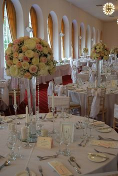 Beautiful large wedding centrepieces. Roses, peonies and gypsophila