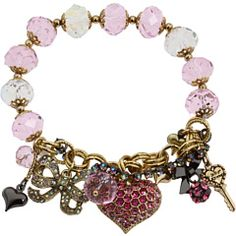 Betsey Johnson Pave Heart Bead Half Stretch Bracelet#Repin By:Pinterest++ for iPad#
