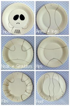 Paper plate skeleton Halloween Halloween decorations for kids paper crafts kidspot - Paper Crafts Halloween Arts And Crafts, Halloween Decorations For Kids, Paper Crafts For Kids, Halloween Activities, Diy Halloween Decorations, Halloween Halloween, Paper Decorations, Skeleton Craft, Toddler Crafts