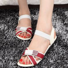 Find More Flats Information about Fashion new 2015 Brand Designer summer shoes women sandal For women Patchwork Flat sandal Girl women sandy beach Free Shipping,High Quality shoes wedge sandals,China sandals designer shoes Suppliers, Cheap sandals ribbon from Good-seller on Aliexpress.com