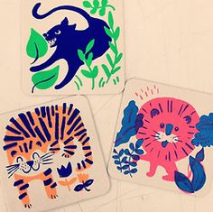 """kimsielbeck:  hello beautiful people of beautiful San Francisco! I'll be at the Alternative Press Expo next Saturday and Sunday (October 4-5). It's at Fort Mason Center Festival Pavilion from 11-6. Come say """"HEY GIRL"""" and pick up a pack of these freshly silkscreened coasters (cheetah is on his way, too), along with other prints, zines, pins, pillows, etc! Any extras will be added to my etsy shop after the show. :)"""