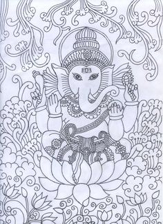 Ganesha mural pencil sketch