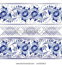 Set of horizontal seamless gzhel patterns on a white background. Vector illustration Blue floral pattern in gzhel style. - stock photo