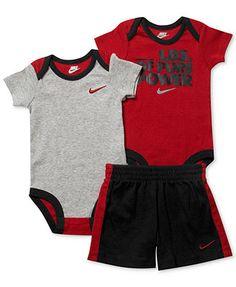 0a36de0c3d787b Nike Baby Boys  3-Piece Bodysuits   Shorts Set Kids - Macy s