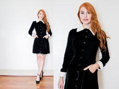 Vintage 1970s Dress  Black Velvet Button Up by dejavintageboutique