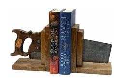Vintage saw bookends.  Hell, ANYthing-bookends!