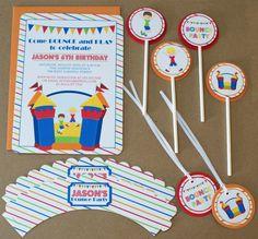 Printed boy's bounce house birthday party by JameneInvitations
