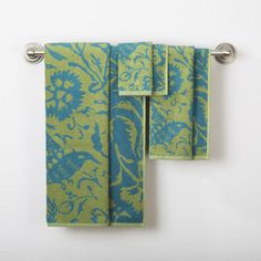 One of my favorite discoveries at WorldMarket.com: Parnavi Fern Pagoda Blue Bath Towel Collection