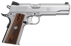 1911 .45 ACP. Ruger's SR-1911 is a good one, but it doesn't have an ambidextrous safety-but it can always be added. SIG and Springfield make a desirable 1911 as well.