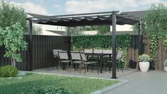 Enjoy the sun and the shade this summer with this 8 seater dining set and matching pergola from Out & Out's Havana garden furniture collection. Backyard Patio Designs, Modern Backyard, Backyard Landscaping, Back Garden Design, Terrace Design, Pergola Garden, Gazebo, Garden Makeover, Plaza