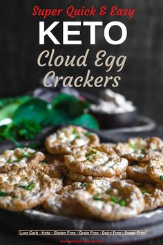 Keto Cloud Egg Crisps, this perfect Keto Snack to use for your evening with wine or as a Keto Canape for your guest, you will love how easy and simple this is to make. Fully Gluten-Free, Grain-Free, and Nut-Free, those Low Carb Chips can not be missed on a table for any Party planned. #keto #cloudegg #chips #crisps #crackers #ketobreadchips #ketotoast #ketocrackers #glutenfree #grainfree #lowcarb #nutfree #diabetic Keto Crackers Recipe, Low Carb Crackers, Sugar Free Recipes, Low Carb Recipes, Healthy Recipes, Healthy Meals, Appetizer Recipes, Snack Recipes, Cooking Recipes