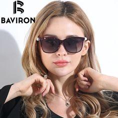 BAVIRON  Pearl Women Sunglasses Shield Big Frame Sun Glasses HD Polarized Glasses Girl Sunglasses Shopping Need Free Box 8529