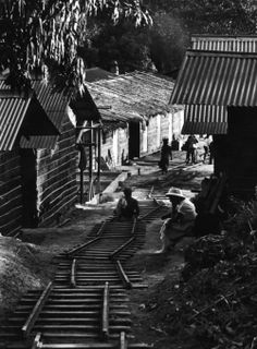 W. Eugene Smith, Dr. Albert Schweitzer pausing to rest as a portable railroad, lent by a nearby plantation, is set down in the main street of his hospital village, Lambarene, Gabon, 1954.