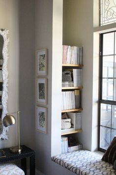 Nook Book Shelves and Benchtop. I love the color of the walls