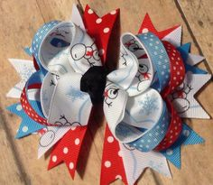 Snow inspired snowman boutique hair bow with by BBgiftsandmore