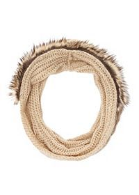 Faux Fur Trim Cable Knit Infinity Scarf