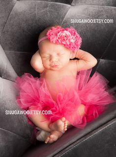 Azlyn Collection- Hot pink Newborn tutu, Infant Baby Girl Tutu WITH coordinating headband bow, newborn photo prop, baby girl gift, newborn by SnugAWoo on Etsy