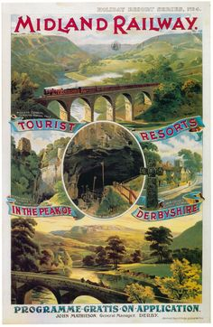 £2.77 GBP - Vintage Rail Travel Poster A4 Re Print Tourist Resorts In Peak Of Derbyshire #ebay #Collectibles