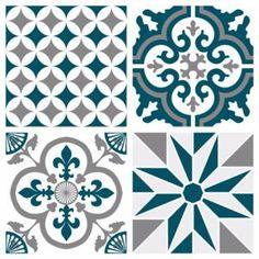 Sticker Ginette - Bleu Canard Credence Adhesive, Stencils, Brick And Stone, Tile Art, Tile Patterns, Crochet Motif, Victorian Homes, Decoration, Creative Design