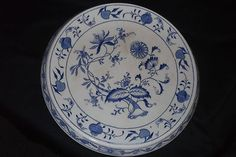 Antique Flow Blue Grimwades Carro...hard to find serving plate with stand up rim.