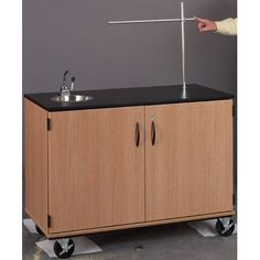 Stevens ID Systems Science Demonstration Mobile Instructor's Desk Color: Black, Finish: Light Oak