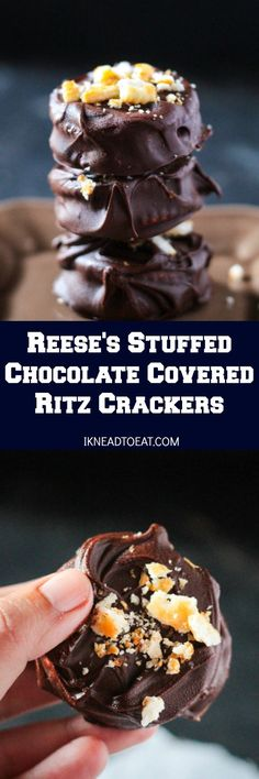 These Reese's Stuffed Chocolate Covered Ritz Crackers are delicious bites of chocolate, peanut butter cups and crackers. Perfect for parties and entertaining!