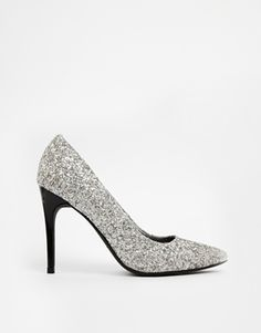 New+Look+Sparkly+Silver+Heeled+Court+Shoes