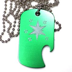 "MLP Twilight Green Pendant With 30"" Chain Dog Tag Aluminum Bottle Opener EDG-0226"