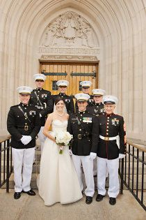 I love this simple, classy dress (and also the Marines. Army Wedding, Military Weddings, Perfect Wedding, Dream Wedding, Wedding Stuff, Military Love, Military Honors, Air Force Wedding, Professional Wedding Photography