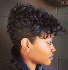 Curly hair / short hair. Side shave is awesome