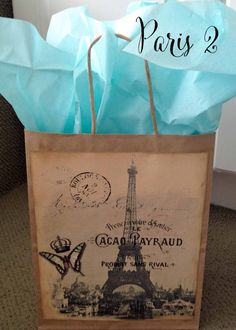 Gift bags Birthday or General Occasion with Paris Theme Vintage French Graphics #giftbags #vintagefrench #birthdaygift