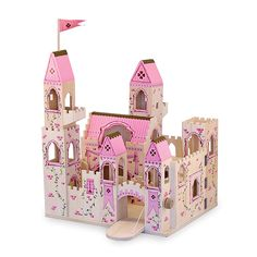 Expand your little princess's imagination play with this sweet Folding Princess Castle play set from Melissa
