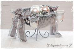 #Adventskranz #Grau-Silber bei #WohngeschichtenvonK. http://de.dawanda.com/product/89748651-adventskranz-fell