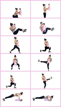 Working out with baby! Don't wait to start, they get heavier before you notice. Yoga Fitness, Fitness Workouts, Fitness Diary, Fitness Motivation, Fun Workouts, At Home Workouts, Workout Routines, Fitness Home, Fitness Hacks