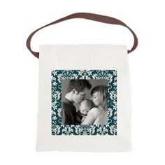 Custom Photo Damask Frame Canvas Lunch Bag  Customize this with your favorite photo, makes a wonderful gift with this beautiful damask pattern  $15.59