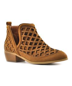 Love this Tan Stassie Leather Ankle Boot on #zulily! #zulilyfinds