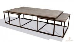 Tøft og rustikt Old Amsterdam sett bestående av 1 stykk sofabord og 2 stykk sidebord. Varen har understell i jern og gråtonet resirkulert bordplate i alm.Mål sofabord:Lengde 140 cmBredde 70 cmHøyde 44 cmMål sidebord:Lengde 64 cmBredde 64 cmHøyde 39 cmMateriale/finish:Jern / resirkulert almVarenummer:690865/3Varen er produsert i resirkulert alm så sprekker, skjevheter og fargevarisjoner er en naturlig del av produktet og slik det er ment å være.