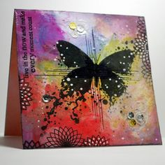 Visible Image stamps - distress oxides - inky butterfly stamp - created by Eileen Godwin