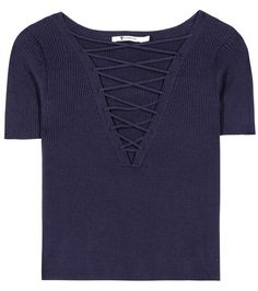 Navy cotton and cashmere top