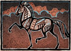 Cloud horse woodblock by ~Starhorse