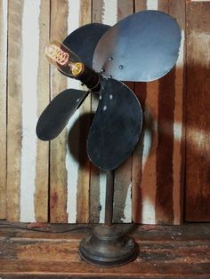 One-of-a-kind Upcycled Repurposed Vintage Metal Fan Blade Steampunk Flower Gooseneck Goose Neck Desk Lamp w/Edison Style Spiral Light Bulb