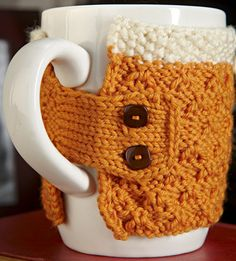Free Knitting Pattern - Cozies: Beer Coffee Mug Cozy
