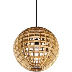 Modern Style Globe Shape Wooden Pendant Light (€150) ❤ liked on Polyvore featuring home, lighting, ceiling lights, modern lighting, modern pendant lamp, modern pendant lighting, wood pendant lights and wood pendant light